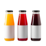Three glass bottles of juice